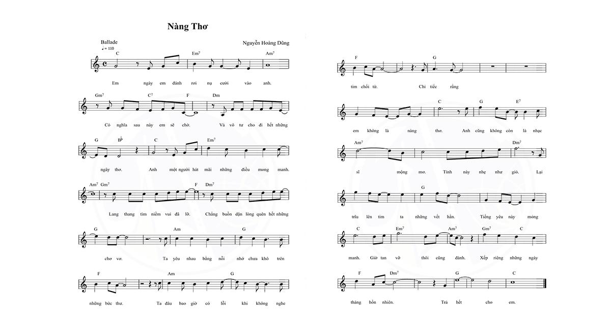 sheet nhạc nàng thơ