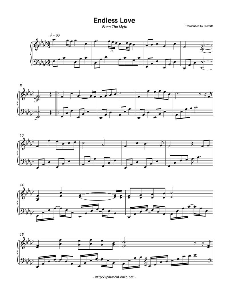 piano-sheet-endless-love-the-myth-than-thoai-ost