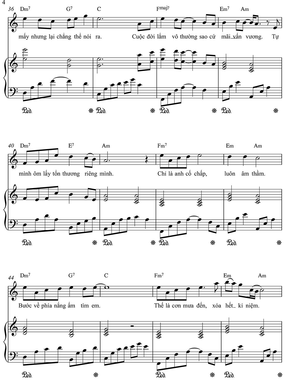 sheet piano hoa nở không màu